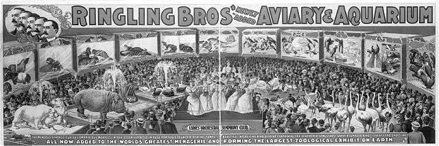 Ringling Bros' ... aviary and aquarium ... largest zoological exhibit on earth