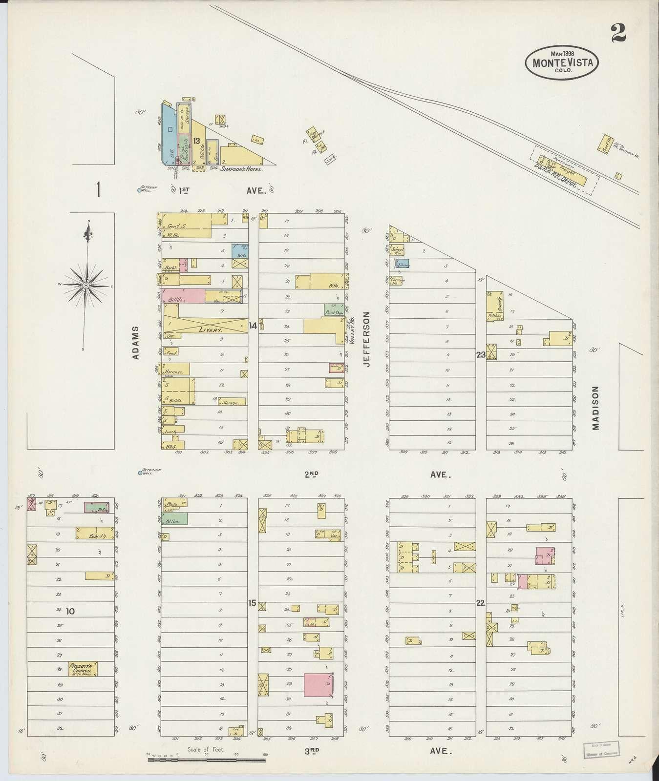 Sanborn Fire Insurance Map from Monte Vista, Rio Grande County, Colorado.