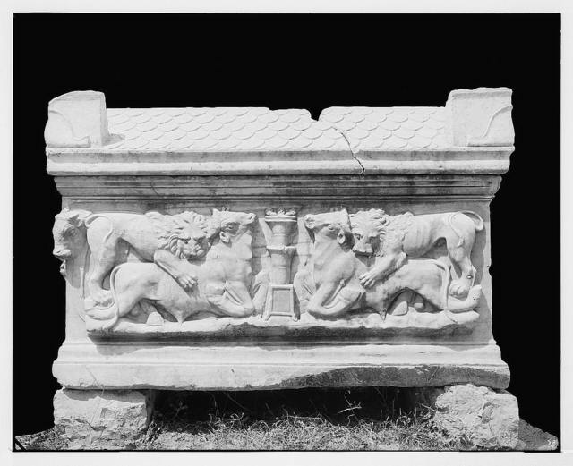 Sarcophagus, Serai, Syria. Side view.