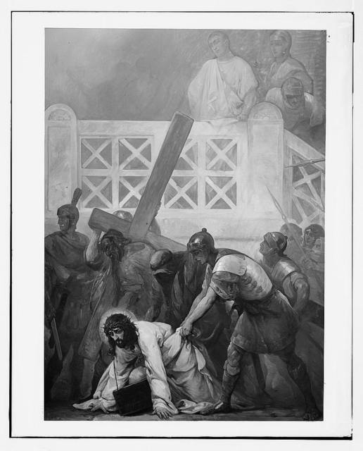 Set of paintings of Christ's passion, by Kosheleff, in Russian Hospice, Jerusalem. Christ falling under the Cross.