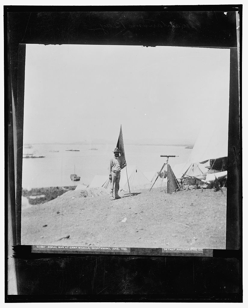 Signal man at Camp M'Calla [i.e. McCalla], Guantanamo, June 1898