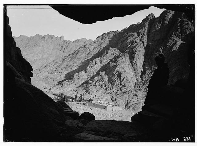 Sinai. Convent of St. Katherine [i.e., Monastery of Saint Catherine] from distant cave entrance.
