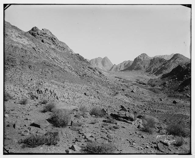 Sinai. First view of the Sinai Mountains from Nakb-el-Hawa. / American Colony, Jerusalem.