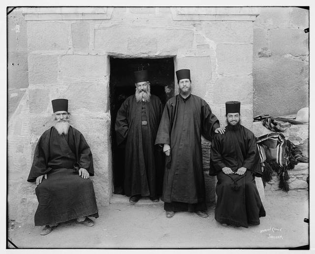 Sinai. Greek monks at the modern entrance [Monastery of St. Catherine] / American Colony, Jerusalem.