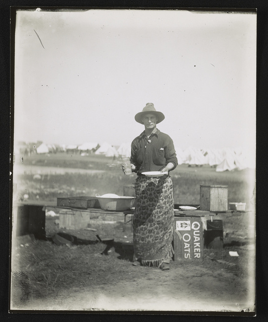 [Soldier standing at camp cook area, Rough Riders military camp, Montauk Point, New York]