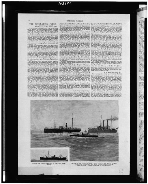 "Spanish ship ""Pedro,"" captured by U.S.S. ""New York,"" April 22. Capture of the Spanish steamer ""Buena Ventura,"" by the U.S. gunboat ""Nashville,"" 17 miles off Key West, Friday morning, April 22 / drawn by Carlton T. Chapman, special artist for Harper's Weekly"