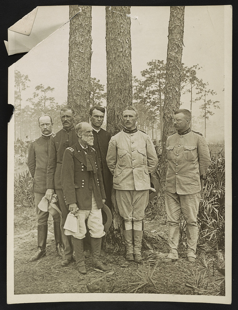 """[Staff of the 1st US Volunteer Regiment, the """"Rough Riders"""" in Tampa]"""