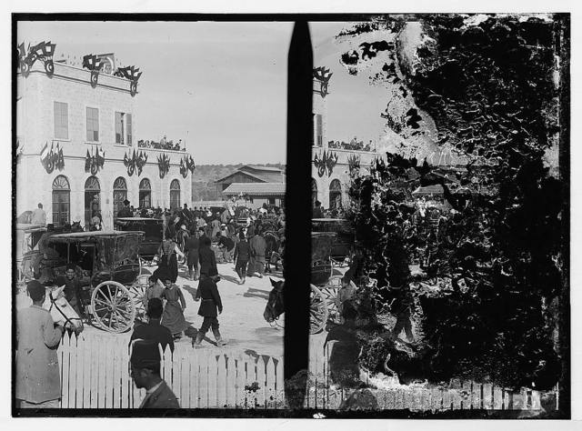State visit to Jerusalem of Wilhelm II of Germany in 1898. Crowd at Jerusalem railroad station; [Another view of crowd at Jerusalem railroad station].