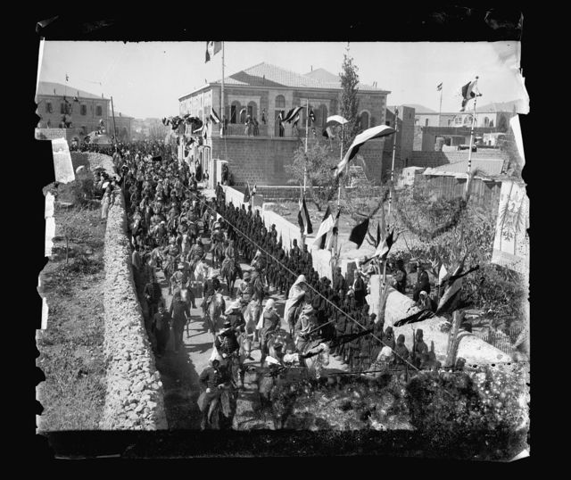 [State visit to Jerusalem of Wilhelm II of Germany in 1898. General view of street procession]