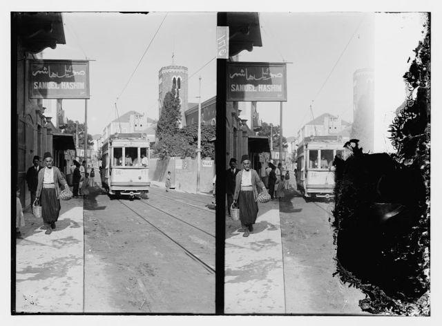 Street scene and trolley car, Syria