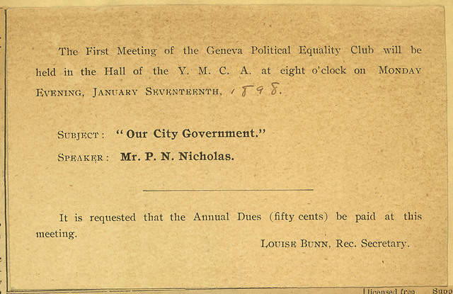 The First Meeting of the Geneva Political Equality Club
