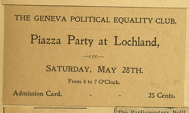 The Geneva Political Equality Society; Piazza Party at Lochland