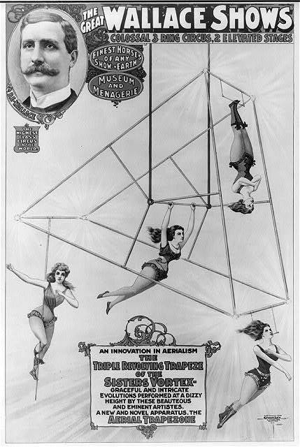 The great Wallace shows An innovation in aerialism, the triple revolving trapeze of the sisters Vortex [...] / / Courier Litho. Co., Buffalo N.Y.