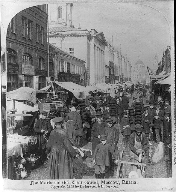The market in Kitai Górod, Moscow, Russia