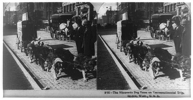 The Minnesota dog team on transcontinental trip, Seattle, Wash.
