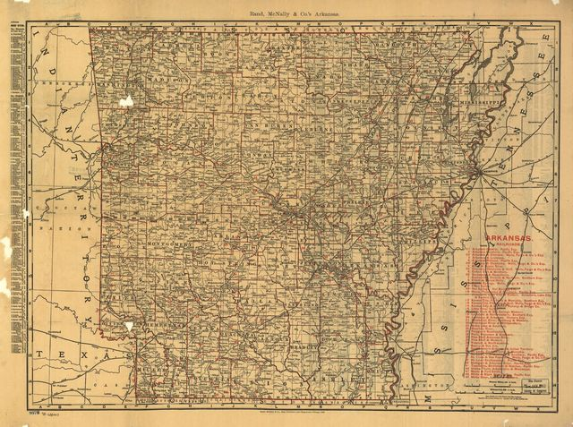 The Rand McNally indexed county and township pocket map and shippers guide of Arkansas showing all railroad, cities, towns, villages, post offices, lakes, rivers, etc.