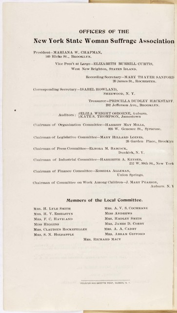 The Thirtieth Annual Convention of the New York State Woman Suffrage Association Convention, Hudson