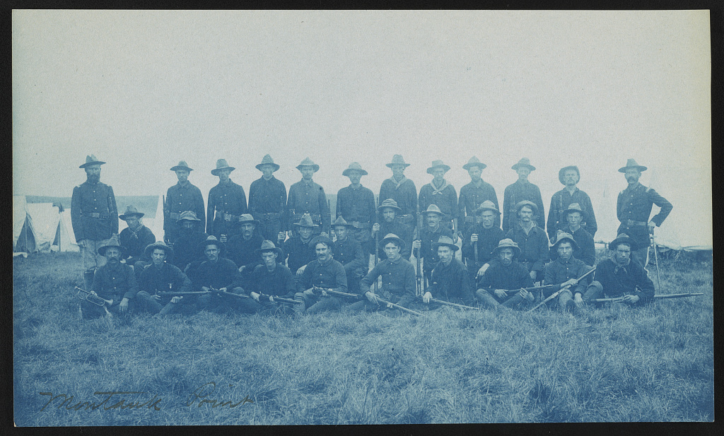 [Theodore Roosevelt's Rough Riders, Company B, at military camp, Montauk Point, New York]