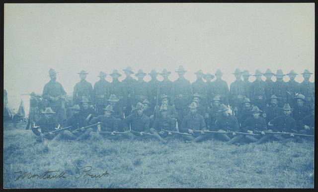 [Theodore Roosevelt's Rough Riders, Company D, at military camp, Montauk Point, New York]