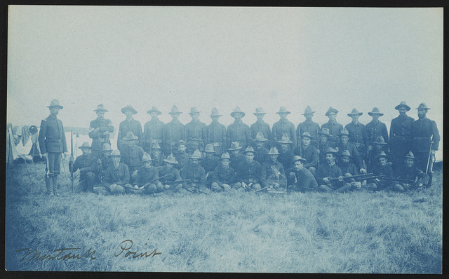 [Theodore Roosevelt's Rough Riders, Company E, at military camp, Montauk Point, New York]