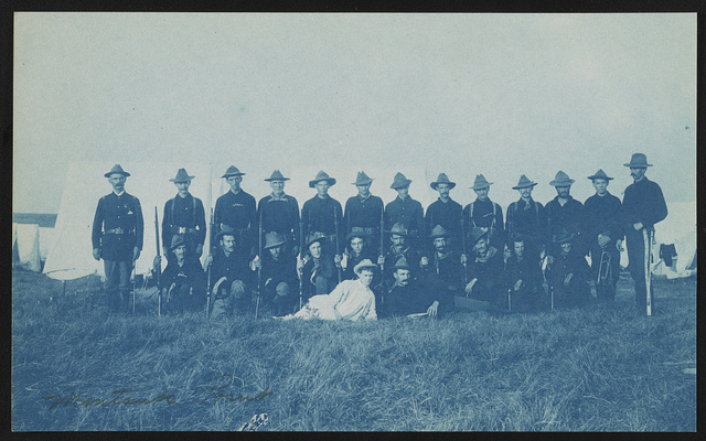 [Theodore Roosevelt's Rough Riders, Company G, at military camp, Montauk Point, New York]