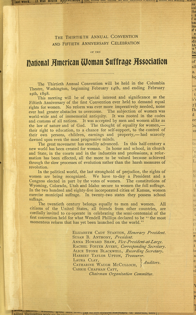 Thirtieth Annual Convention and Fiftieth Anniversary Celebration of the National American Woman Suffrage Association