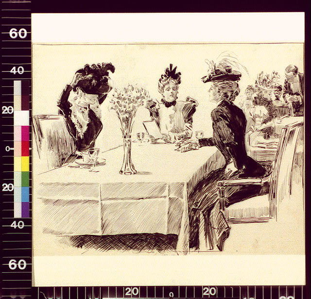[Three hatted young women at restaurant, one removing hat]