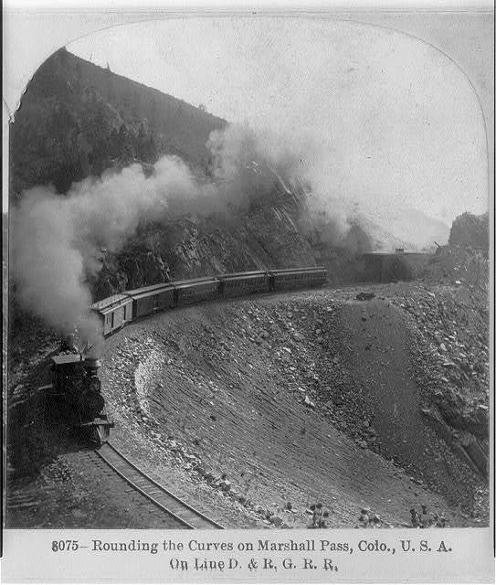 Train rounding a curve on Marshall Pass, Colo. on line D. & R.G.R.R.