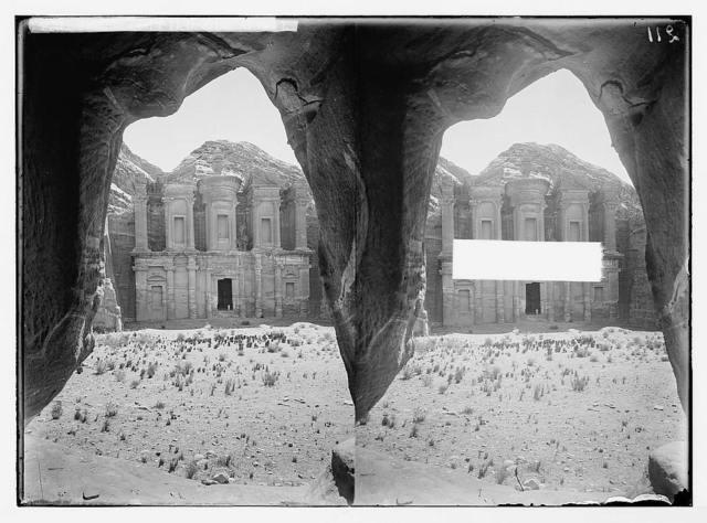 Trans-Jordan. Petra. Temple of El Deir. (Front view).
