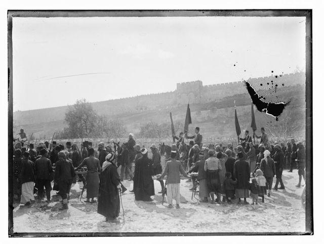 Turk mili. [i.e., military] WWI. Parade outside Jer [i.e., Jerusalem]., new Golden Gate