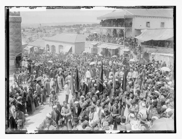Turk mili. [i.e., military] WWI. Street scene, Jaffa Gate