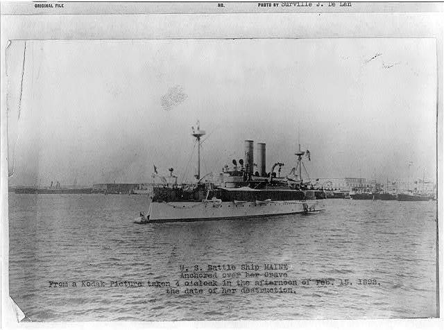 U. S. Battle ship Maine anchored over her grave from a Kodak picture taken 4 o'clock in the afternoon of Feb. 15, 1898, the date of her destruction.