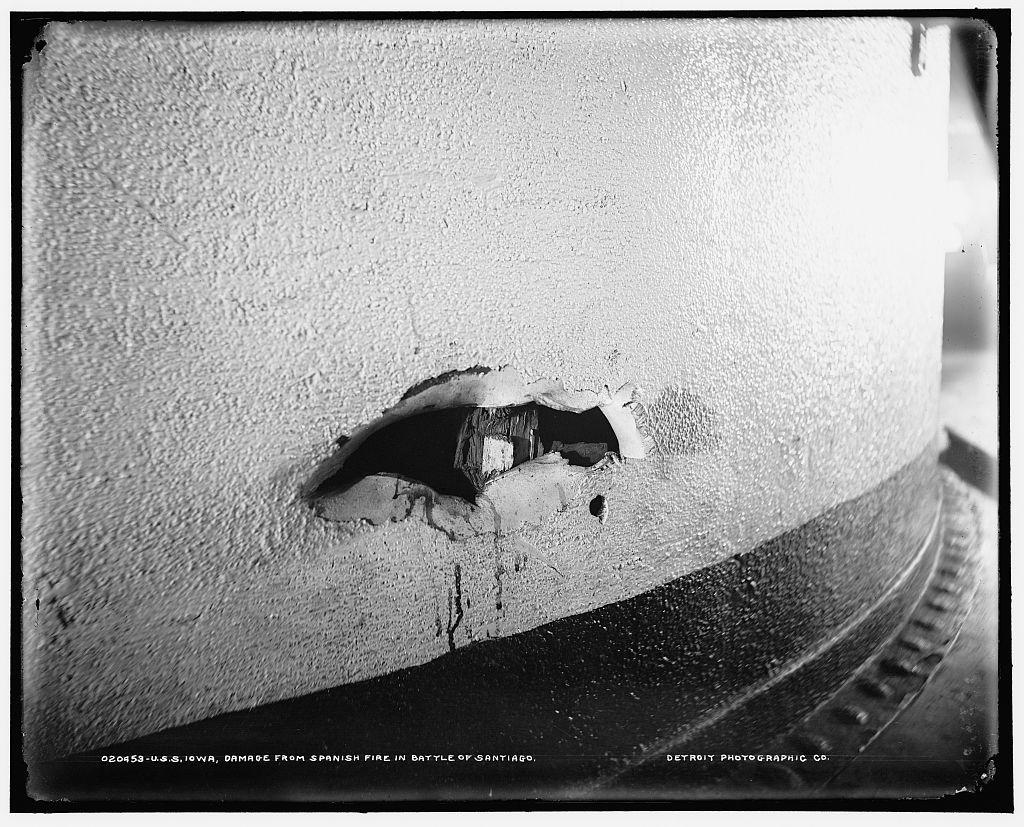 U.S.S. Iowa, damage from Spanish fire in Battle of Santiago