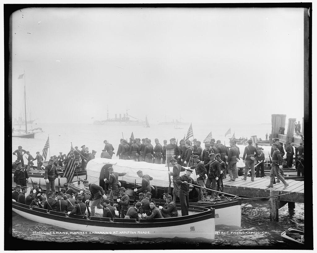 U.S.S. Maine, Marines embarking at Hampton Roads