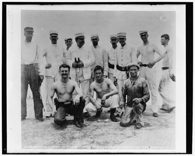 U.S.S. Oregon, Capt. Clark and officers and crew of after 13 inch turret, Battle of Santiago