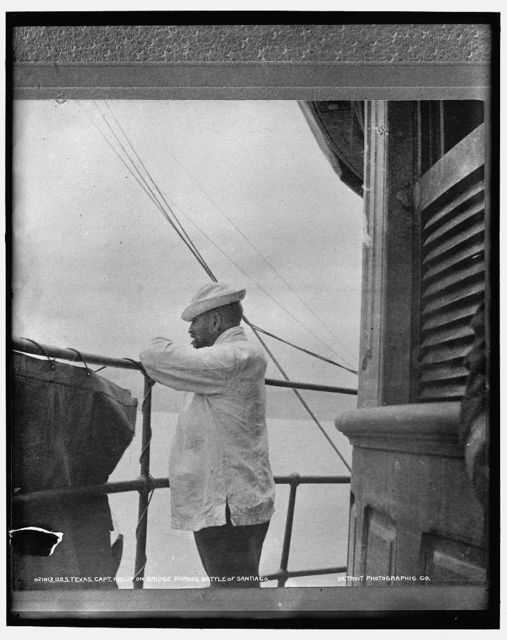 U.S.S. Texas, Capt. Philip on bridge during Battle of Santiago