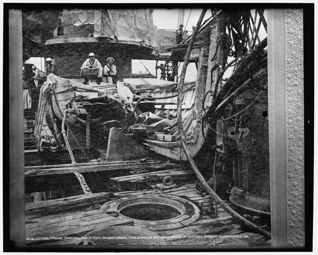U.S.S. Texas, forward superstructure showing damage from Spanish 9-inch shell, Battle of Santiago