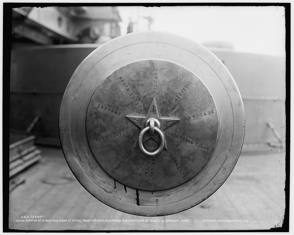 U.S.S. Texas, tompion of 12-inch gun made of metal from Vizcaya, recording engagements of Texas in Spanish War