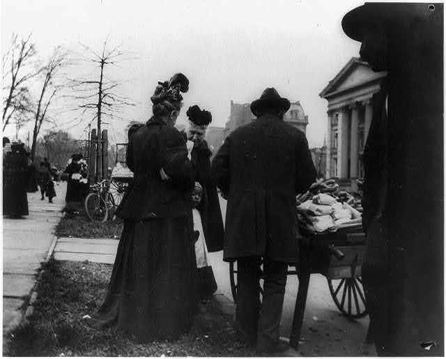 [Vendor and cart near the White House during the egg rolling]