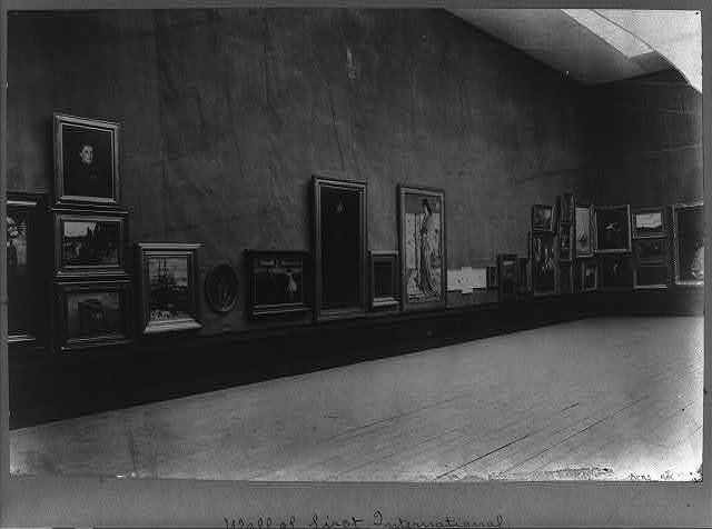 [Wall of the First International Exhibition, Knightsbridge, London, 1898, showing paintings by James M. Whistler]
