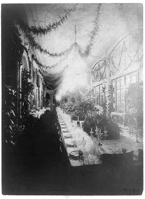 White House - long corridor used for State Dinner, 1898
