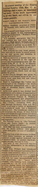 Women's Work in the Woman's Christian Temperance Union
