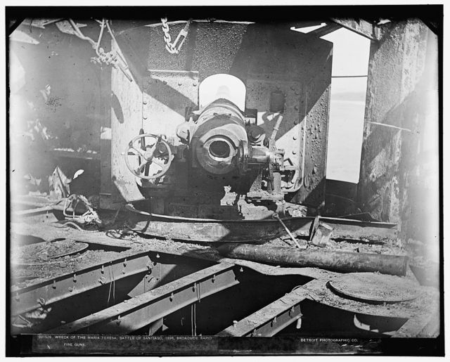 Wreck of the Maria Teresa, Battle of Santiago, 1898, broadside rapid fire guns