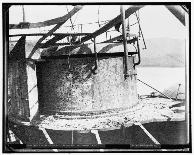 Wreck of the Vizcaya, Battle of Santiago, conning tower, 1898