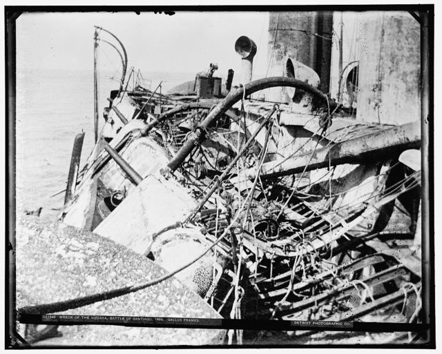 Wreck of the Vizcaya, Battle of Santiago, gallus frames, 1898