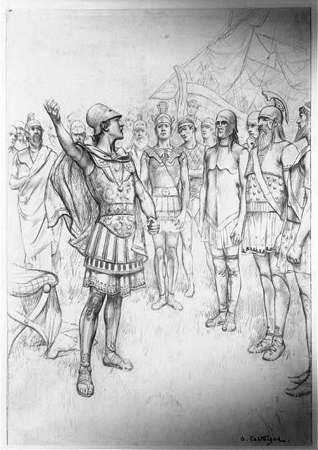 [Alexander's address to his officers before the battle of Issus] / A. Castaigne.