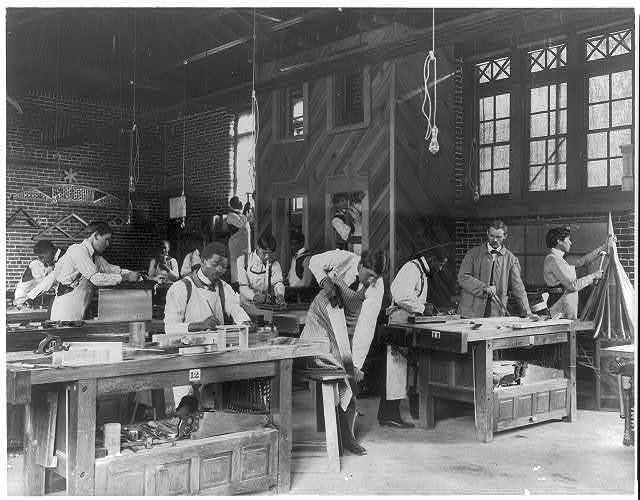 [American Indian and African American students at Hampton Institute, Hampton, Va. 1900(?) - men in carpentry workshop]