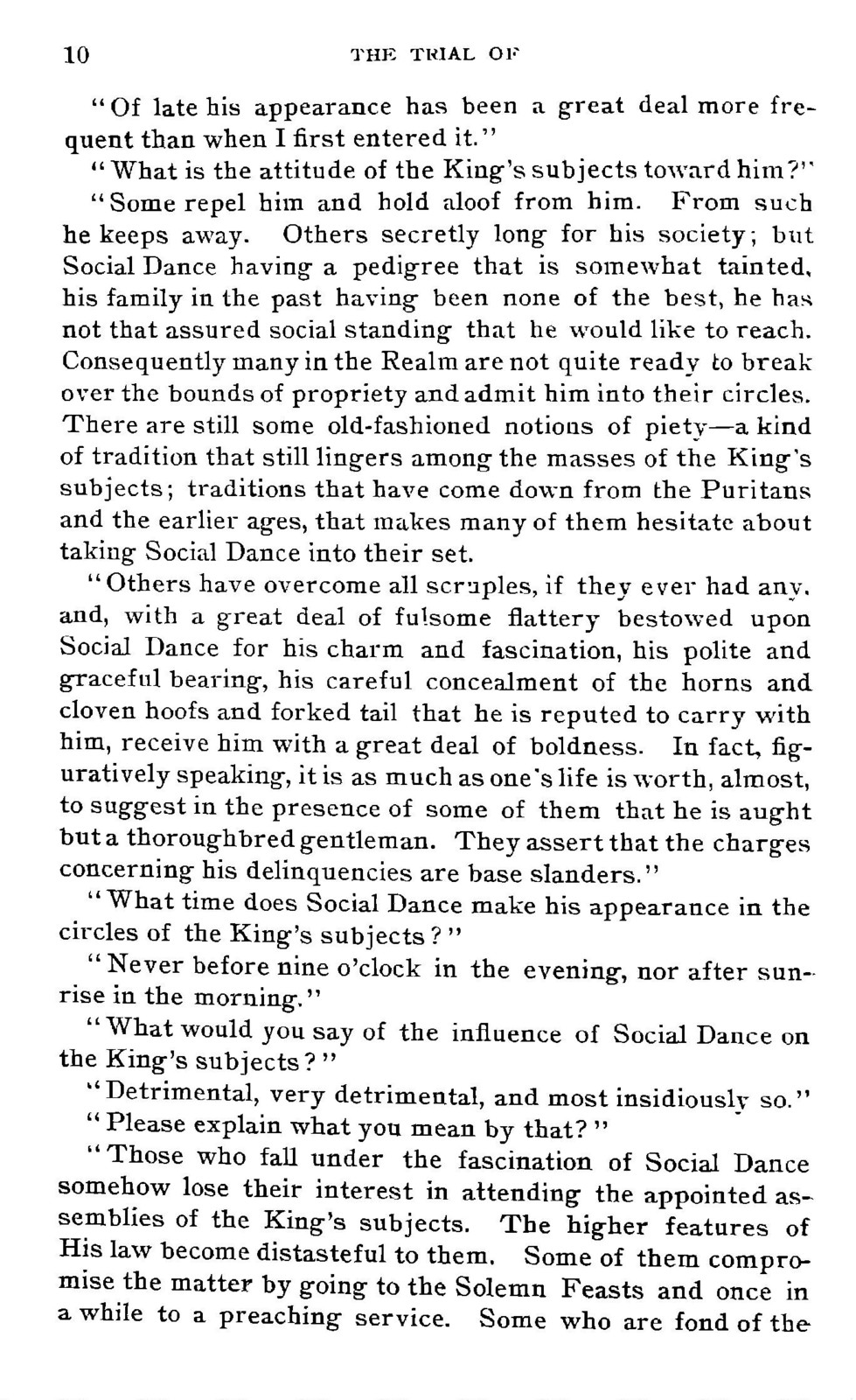 An  account of the trial of social dance