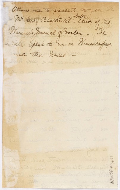 Anne Fitzhugh Miller draft introduction of Henry Blackwell
