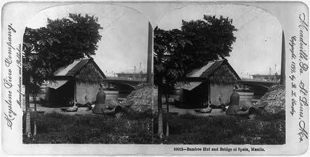 Bamboo hut and Bridge of Spain, Manila
